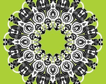 Black and White Mandala, Lime Green, Geometric Design, Art Print, Contrast Art, Vivid Artwork, Square Art Print, Detailed Mandala