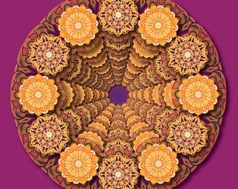 Around in a Circle, Orange Purple Mandala, Complex Art Print, Orange and Magenta Art, Detailed Geometric Art, Kaleidoscope Artwork