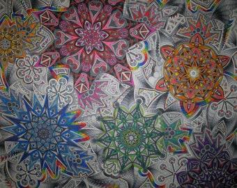 Colorscope, Rainbow Mandala, Kaleidoscope Art, Geometric Art, Marker Print, Psychedelic Art, Starburst Pattern, Detailed Drawing, Energy Art