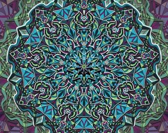 Mandala Art, Geometric Art, Blue Green and Purple, Kaleidoscope Design, Detailed Pattern, Abstract Geometry Art, Starburst, Meditation Art