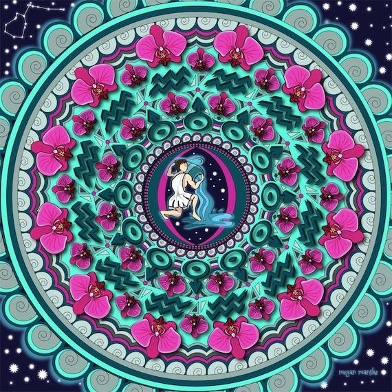 Aquarius Mandala Water Bearer Air Sign Aquarius Art Zodiac Etsy