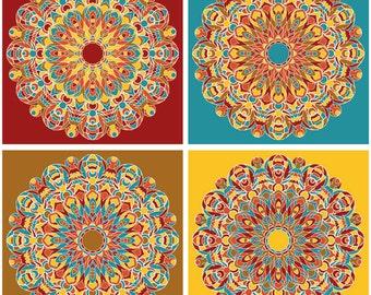 Tan Yellow Red Teal, Four Mandalas, Summer Colors, Geometric Design, Art Print, Kaleidoscope Patterns, Detailed Art, Complex Art, Starbursts