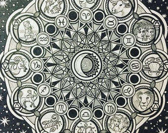 Zodiac Mandala - print of black and white ink drawing