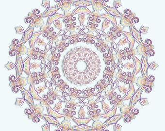 Rainbow Outlined Art, Rainbow Mandala, Detailed Line Art, Colorful Art Print, Delicate Rainbow, Geometric Art, Complex Art, Kaleidoscope Art