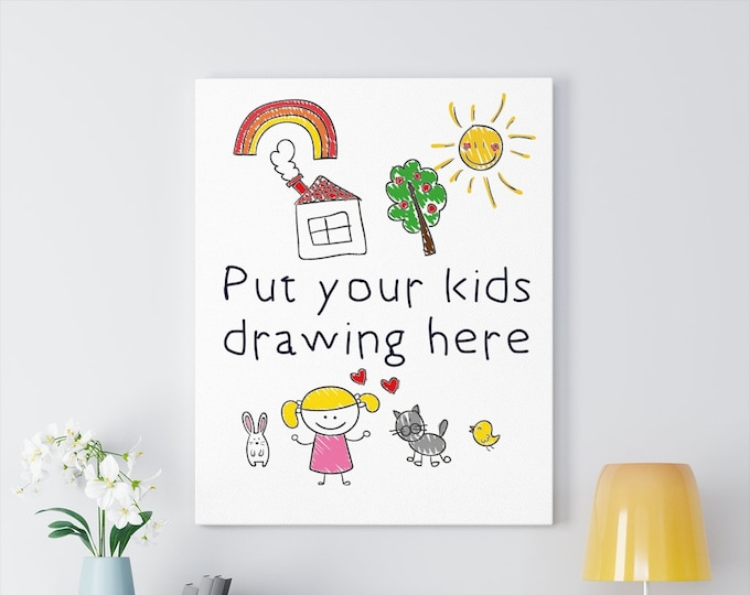 Featured listing image: Custom Kids Art or Drawings on Canvas Gallery Wraps