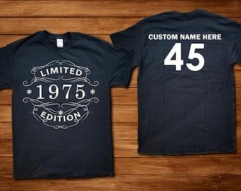 Custom 45th Birthday 1975 TShirt Vintage Whiskey Label