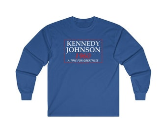Kennedy Johnson 1960 Election Campaign Vintage Long Sleeve Tee
