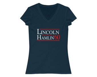 Abraham Lincoln 1860 Campaign for President Women's V-Neck Bella Canvas Tee