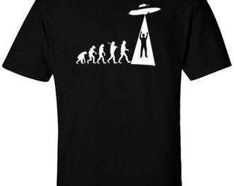 Funny UFOLUTION T-Shirt Evolution Ufology UFO Grey Aliens Extra Terrestrial T-Shirts Ancient Aliens Shirts Charles Darwin Origin of Species