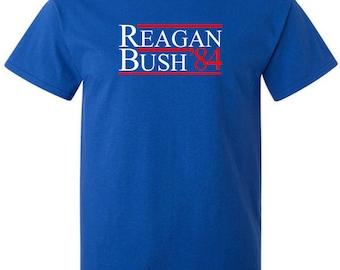 Campaign T-Shirt Reagan Bush 84 Conservative Republican Presidential Election of 1984 Vintage American Shirt