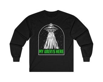 Funny Alien UFO Abduction Long Sleeve Tee