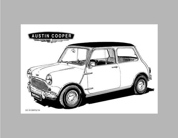 Items Similar To Mini Austin Cooper Black White Drawing Mk 1