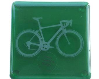 Green Bike Fused Glass Coaster