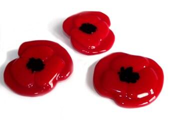 Glass Poppy Brooch