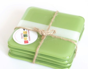 Glass Coasters green and cream  set of 4