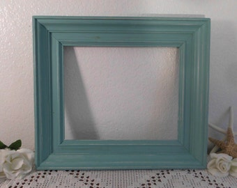 10 x 12 Sea Green Picture Frame Rustic Shabby Chic Distressed Wide Wood Photo Frame Beach Cottage Coastal Seaside Home Decor Gift Him Her