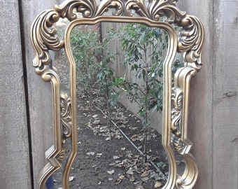 d13e96d91403 Large Vintage Gold Baroque Scrolled Wall Mirror Mid Century Hollywood  Regency Shabby Chic Cottage Romantic Victorian Home Decor Gift Her