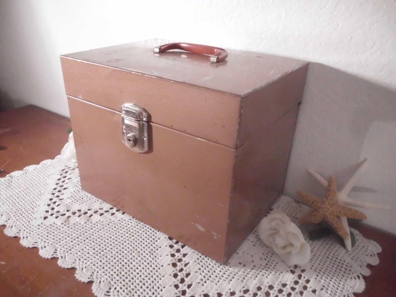 Vintage Tan Brown Metal File Box Industrial Office Mid Century Man Cave Mad Men Home Decor Storage Organizer Portal Tax Organization Lock