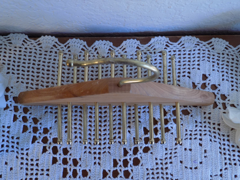 Vintage Tie Rack Cedar Wood Brass Necktie Hanging Closet