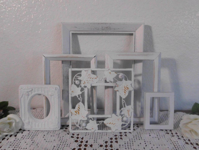 White Shabby Chic Frame Set Rustic Distressed Picture Photo Country