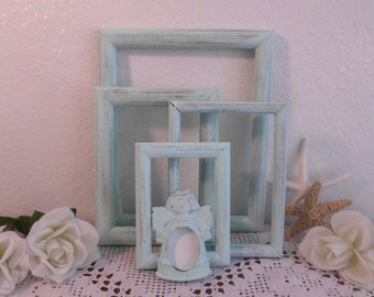 Mint Green Picture Frame Set Rustic Shabby Chic Distressed Beach Cottage Florida Spa Home Decor Wedding Decoration Photo Gift for Her