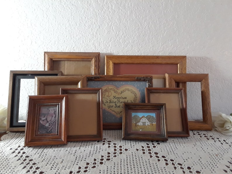 2 Vintage Wood Rectangular Frames Photo Picture Embroidery Wedding Frames Mid Century Art Lot Gallery Wall Hangings Frames