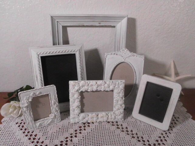 Ornate White Shabby Chic Frame Set Rustic Distressed Picture Photo