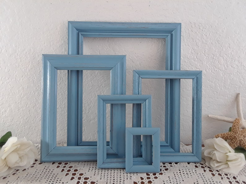 Blue Picture Frame Set Upcycled Vintage Wood Photo Gallery Collection Beach Cottage Coastal Seaside Tropical Island Nautical Lake Home Decor