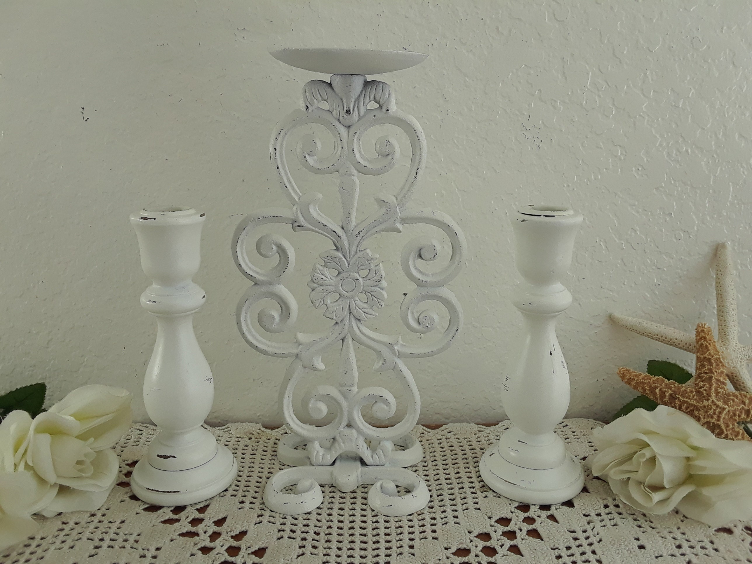 2 Cottage Chic White CANDLESTICKS Taper Candle Holders Wedding Shabby FARMHOUSE