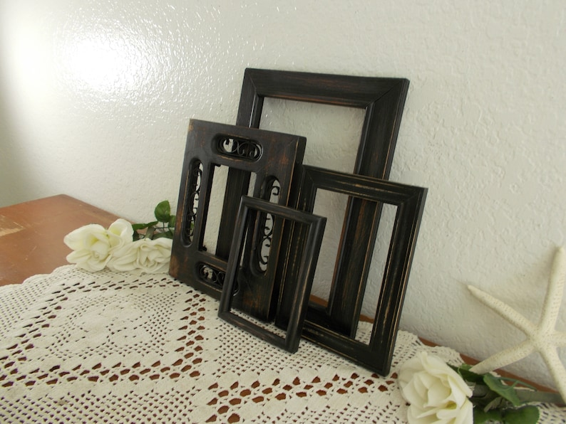Black Picture Frame Set Upcycled Vintage Rustic Shabby Chic Distressed Wood French Country Farmhouse Traditional Western Mancave Home Decor