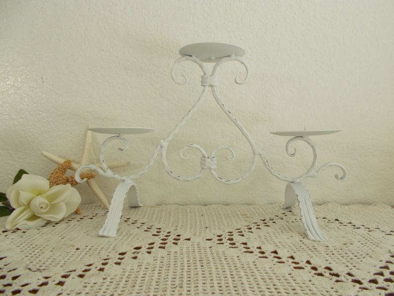 White Shabby Chic Unity Candle Holder Upcycled Vintage Rustic Distressed Pillar Candelabra Beach Cottage Coastal Seaside Country Home Decor
