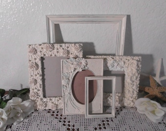 Ornate Heirloom White Shabby Chic Frame Set Rustic Distressed Picture Photo Wedding Decoration Beach Cottage Country Home Decor Gift Her