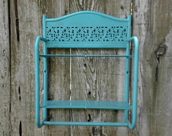 Beach Cottage Turquoise Aqua Teal Blue Shelf Wall Hanging Rustic Shabby Chic Distressed Coastal Seaside French Country Farmhouse Home Decor