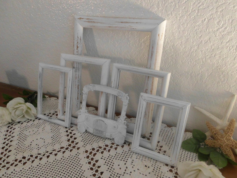 Just Married White Shabby Chic Frame Set Rustic Distressed Picture Photo Wedding Reception Decoration Country Cottage Home Decor Gift Her