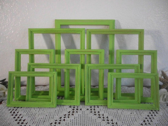 Lime Green Frame Set Bright Shabby Chic Beach Cottage Tropical