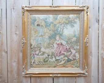 Large Vintage Ornate Gold Framed Fountain by the Lake Tapestry by Francois Boucher Paris French Country Romantic Shabby Chic Cottage Decor