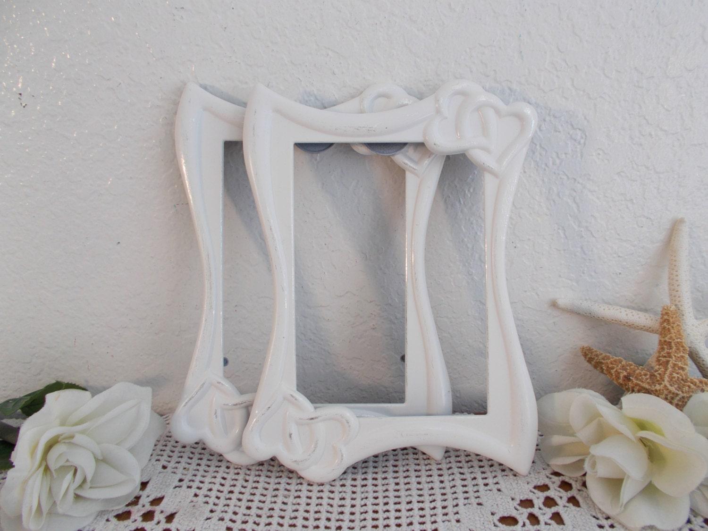 Weißen Shabby Chic Doppelherz Bild Rahmen 5 x 7 Foto   Etsy