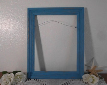 Aqua Turquoise Blue Picture Frame 12 x 16 Rustic Shabby Chic Distressed Photo Decoration Beach Cottage Seaside Home Decor Summer Wedding