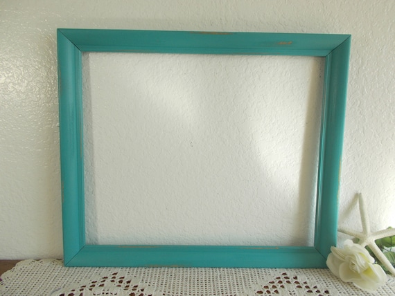Teal Blue Picture Frame 14 X 17 Photo Decoration Upcycled Etsy