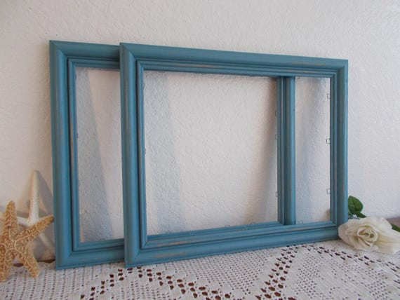 Blue Picture Frame 11 X 14 Photo Decoration Up Cycled Vintage | Etsy
