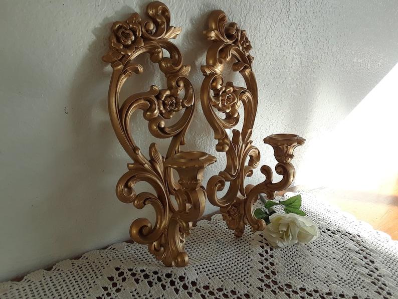 Muro doro vintage applique cono candela titolare set etsy
