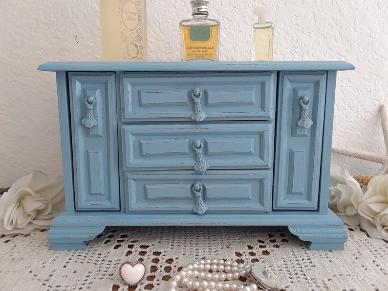 Blue Jewelry Music Box Up Cycled Vintage Rustic Shabby Chic Distressed Wood Beach Cottage Coastal Seaside Tropical Island Country Home Decor