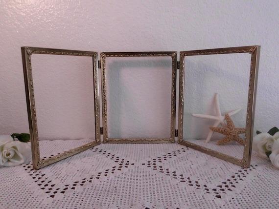 Vintage Gold Frame Ornate Scrolled Self Standing Tri Folding Etsy