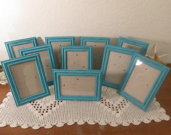 Aqua Turquoise Blue 4 x 6 Frame Shabby Chic Distressed Picture Photo Destination Wedding Table Number Beach Cottage Seaside Home Decor Gift