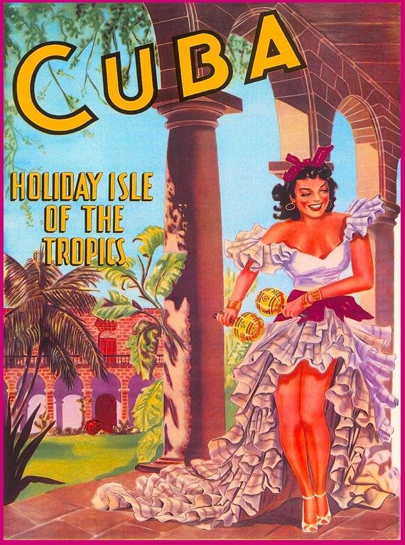VINTAGE CUBA ISLE OF THE TROPICS TRAVEL A4 POSTER PRINT