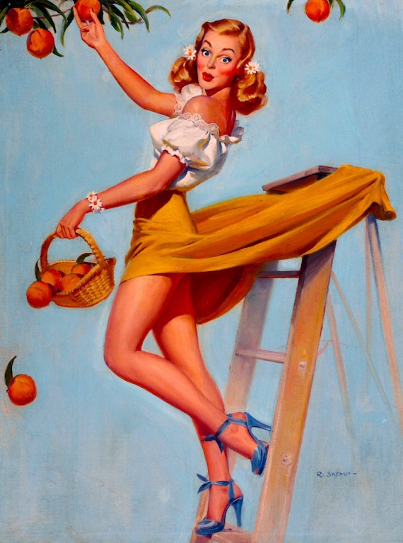 1940s Pin-Up Girl Changing a Tire Tow Picture Poster Print Vintage Art Pin Up