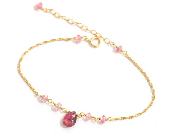14K Gold. Pink Tourmaline Bracelet,  14K Yellow Gold Pink Tourmaline Beaded Bracelet, October Birthstone Jewelry, Gift For Her