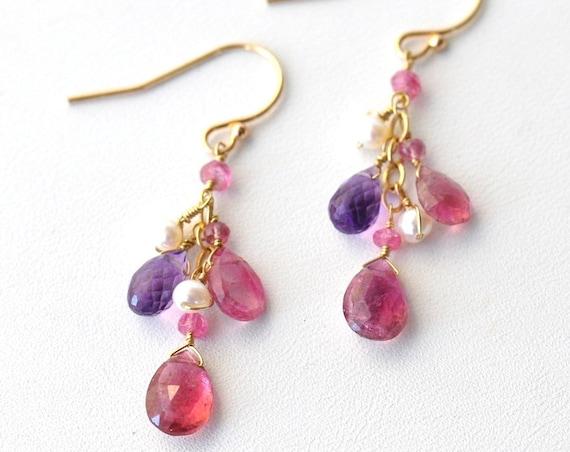 14K Gold. Pink Tourmaline, Amethyst, Freshwater Pearl Earrings, Pink Tourmaline Earrings, October Birthstone Earrings, 14K Gold Earrings
