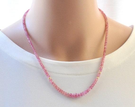 14K Gold. Pink Tourmaline Necklace,  October Birthstone Necklace, 14K Gold Necklace