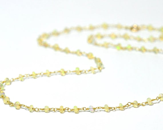 18K Gold. Natural Ethiopian Opal Necklace, Tiny gemstone beaded necklace, October Birthstone, 18K Gold Rainbow Opal Necklace